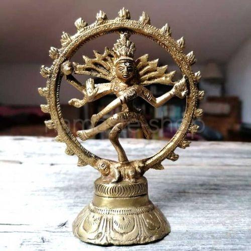 Statua Shiva Nataraj nella Danza Cosmica - Ottone