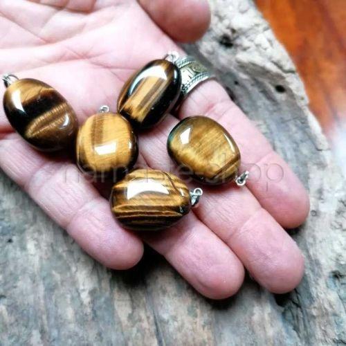Ciondolo di Occhio di Tigre - Attacco in Argento