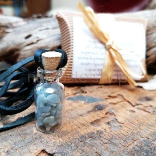 Bottiglietta RICHIAMO ANGELICO - Angelite - Porta fortuna con cordoncino