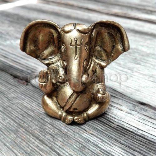 Mini Ganesh grandi orecchie - Statuetta ottone 5cm