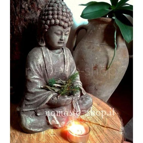 Statua Buddha dell'Offerta - con porta candela