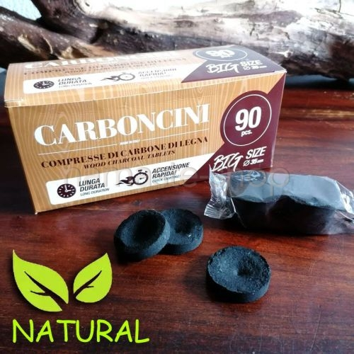 SCORTA CARBONCINO VEGETALE - 90 Carboncini in blister da 6 pezzi