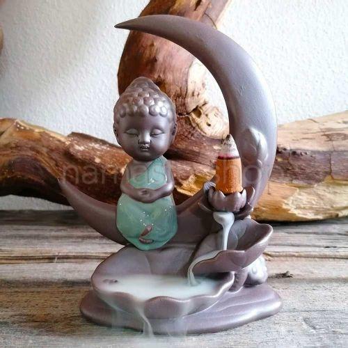 Brucia incenso a Cascata BUDDHA NELLA LUNA - Per coni Backflow