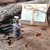 Bottiglietta dello SPIRITO SERENO - Ametista - Porta fortuna con cordoncino
